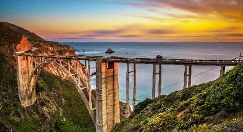 California's Bixby Bridge at Sunset.