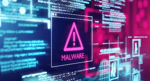 "Computer screen with ""Malware"" written in the middle."
