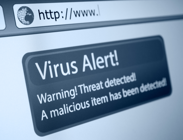 "Computer screen with ""Virus Alert!"" prominently displayed."