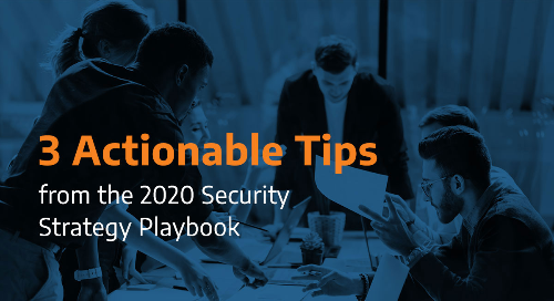 """Office team sitting around a table with text """"3 actionable tips from the 2020 Security Strategy Playbook"""""""