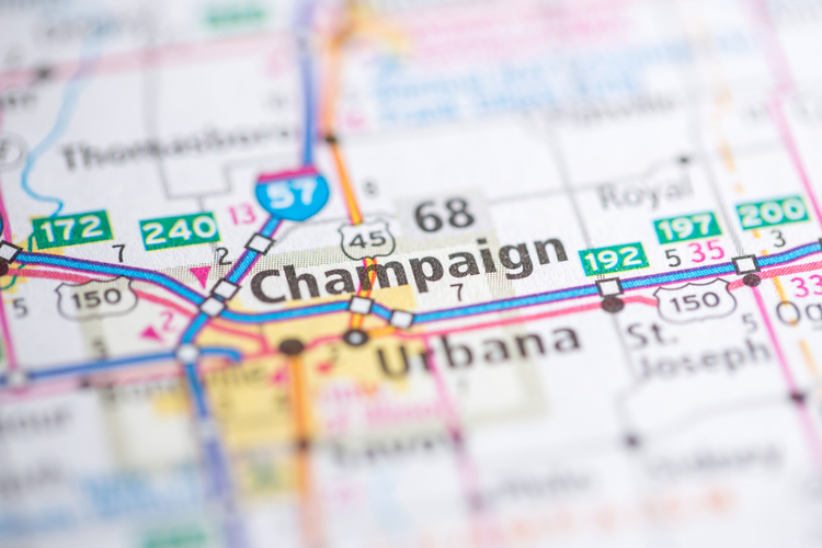 A road map with Champaign, Illinois in the center.