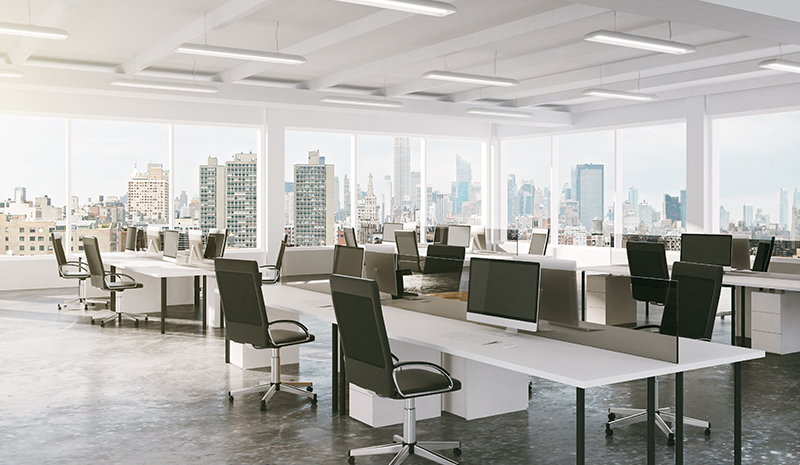 A large, empty office environment.