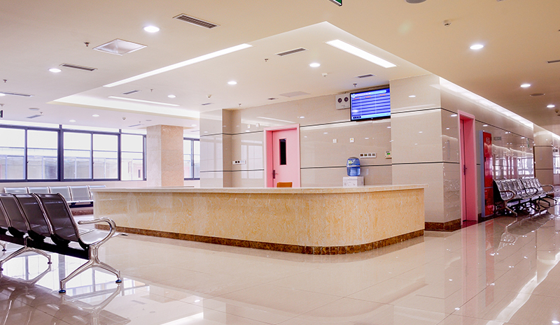 An empty waiting room inside of a hospital.