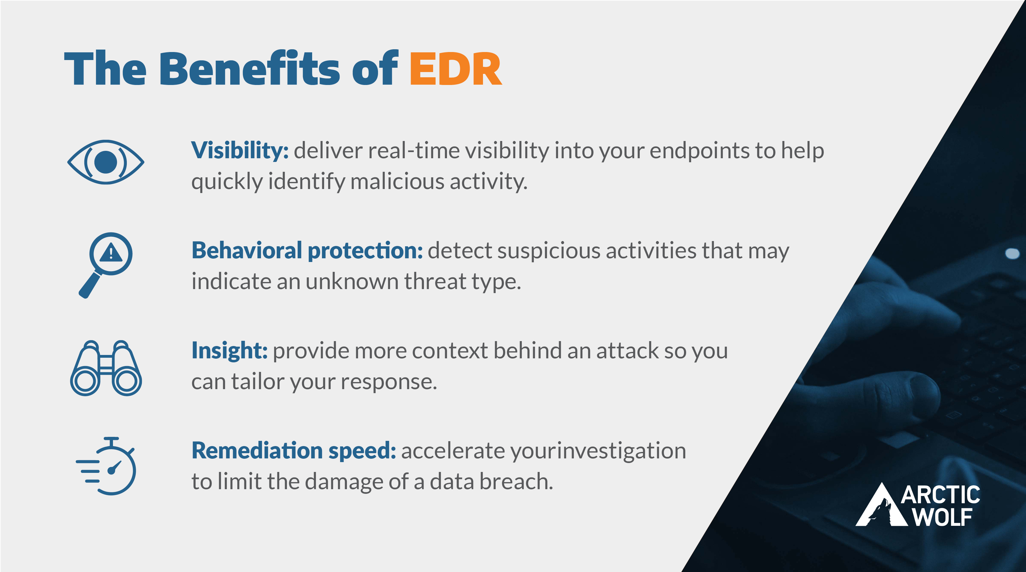 Graphic of The Benefits of EDR with eye icon, magnifying glass, binoculars, and a stopwatch to highlight the points listed directly above.