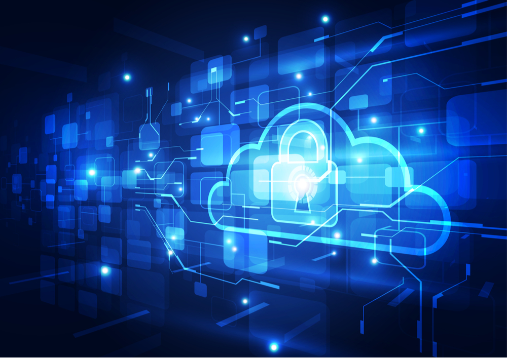 A cloud graphic with a lock over it for The Cloud Threat Report