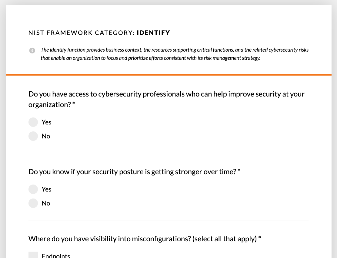 A sample of questions from the security assessment.