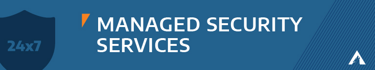 """Blue background with a 24x7 icon and """"Managed Services"""""""