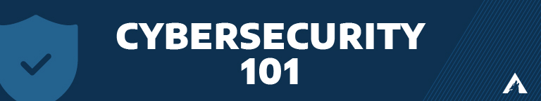 """A blue background with a checkmark icon and """"Cybersecurity 101"""""""