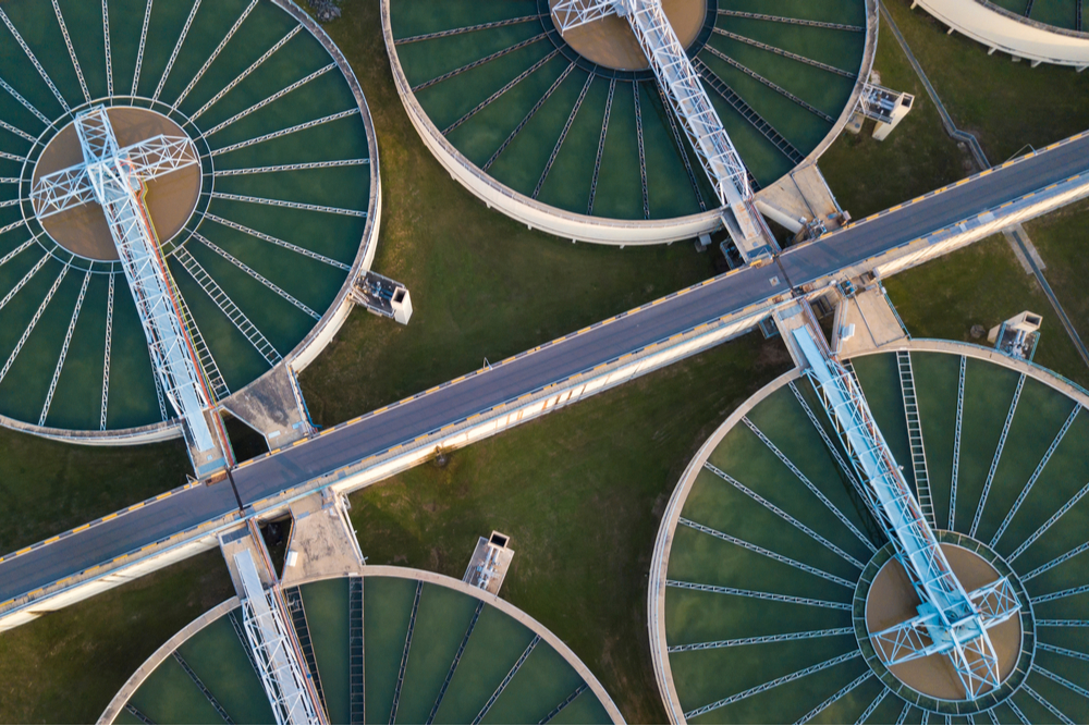 Photo of an overhead view of a water processing plant.