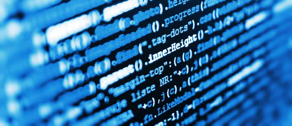 Closeup of coding language on a computer screen