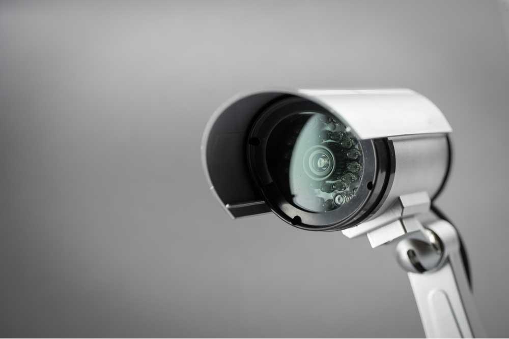 Close up of a security camera.