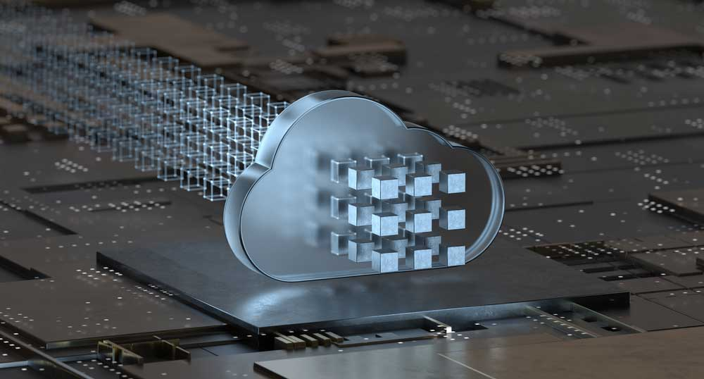 A graphic of a computer cloud with a series of cubes in front of it.