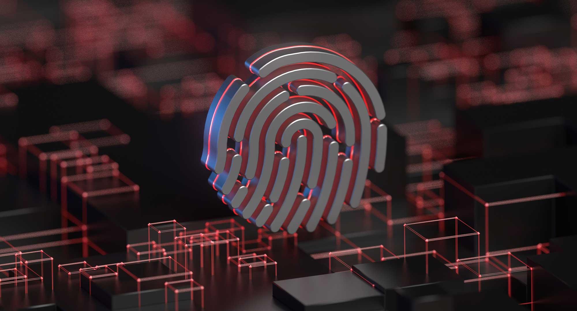fingerprint symbol over a tech background