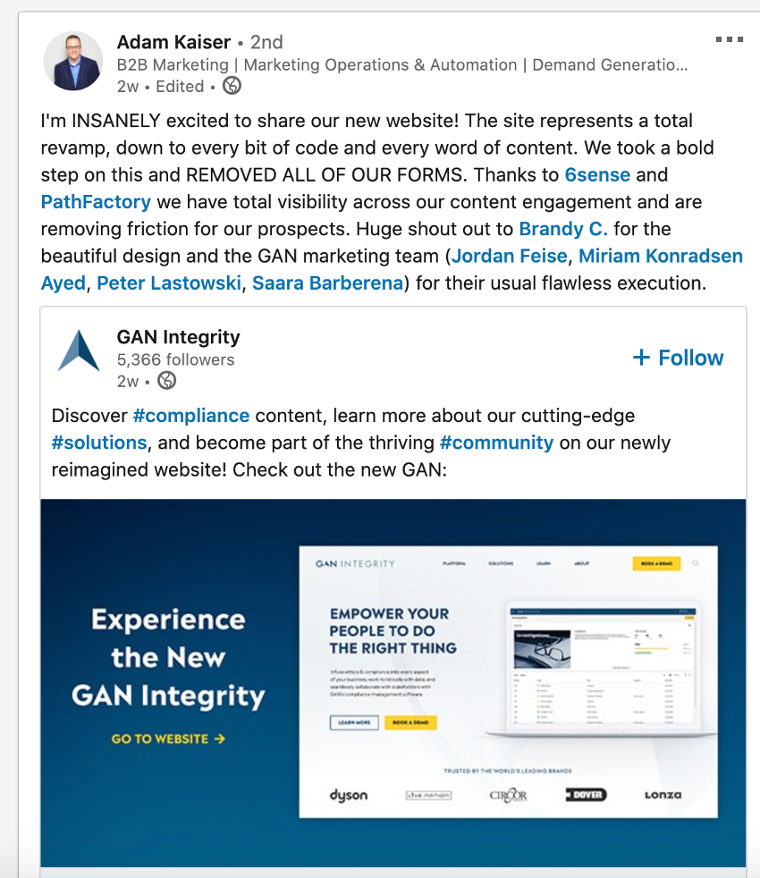 Adam Kaiser Linkedin Post