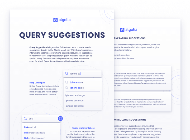 Algolia Query Suggestions - Guide your users and shorten path to content