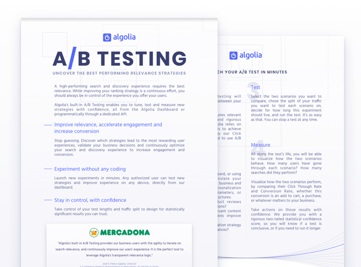 How to use Algolia A/B Testing