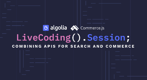 illustration for: 'Live Coding Session - Integrate search into your Commerce.js store in 30 min'""