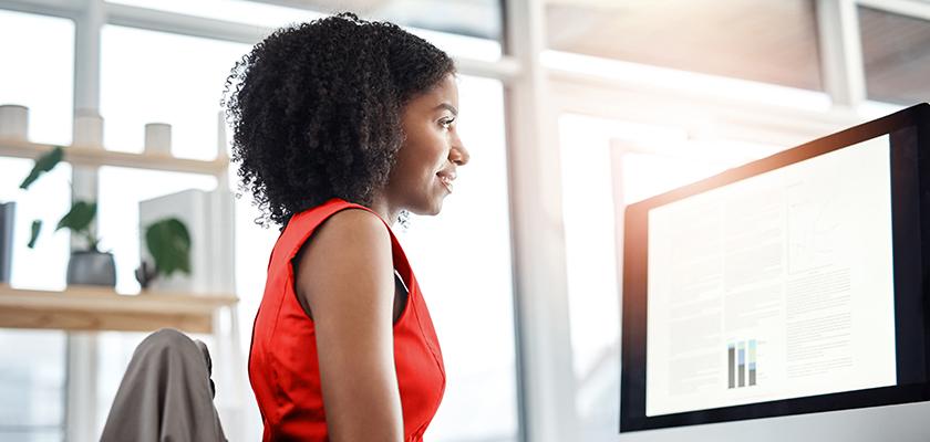 Woman looking at monitor