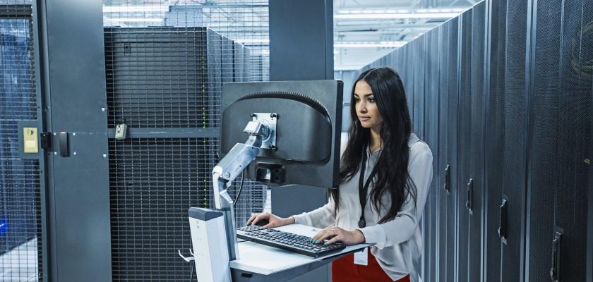 Woman in data centre