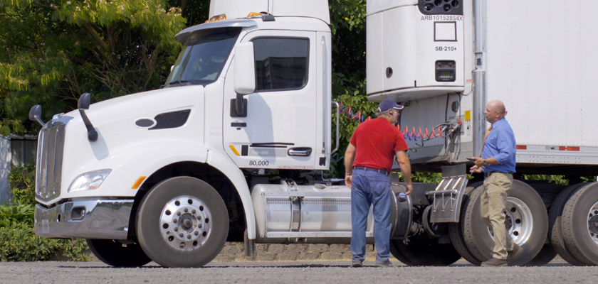 Two cargo professionals talking by transport truck