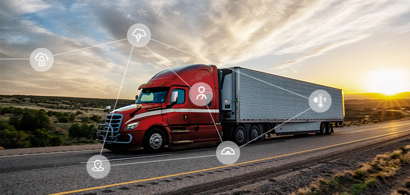 camion de transport avec des icônes iot