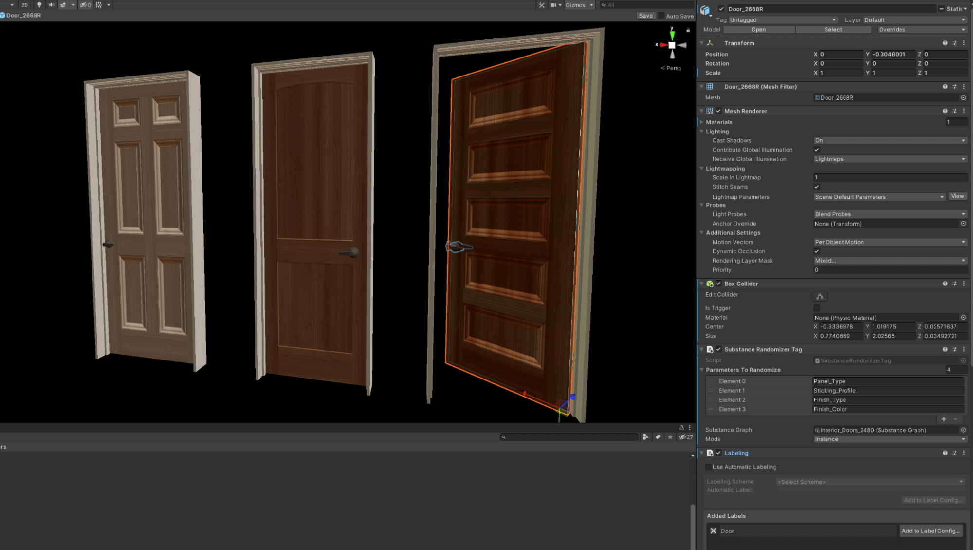 Door Prefab, showing components, materials, and randomization