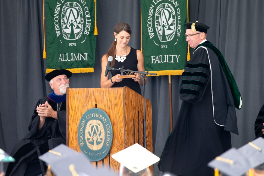 Image of Stacy Becker at her commencement address.