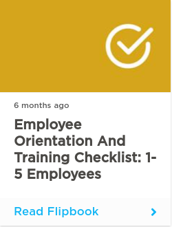 Employee Orientation and Training Checklist: 1-5 Employees