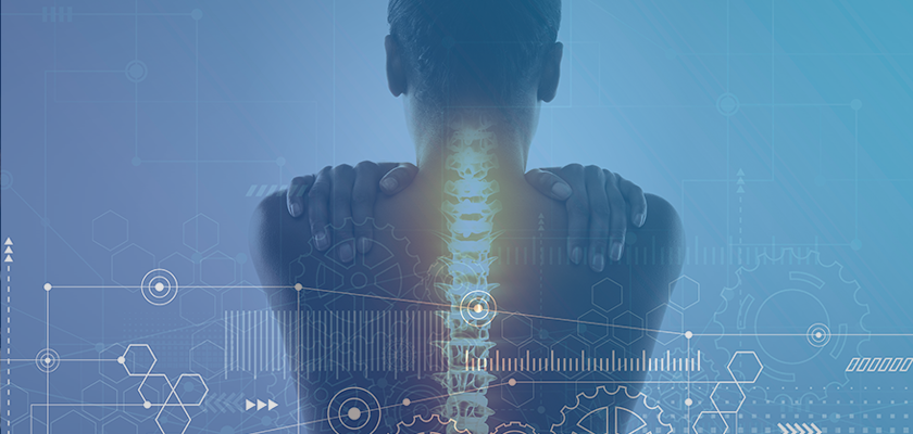 Woman with exposed spine with gears superimposed over her back