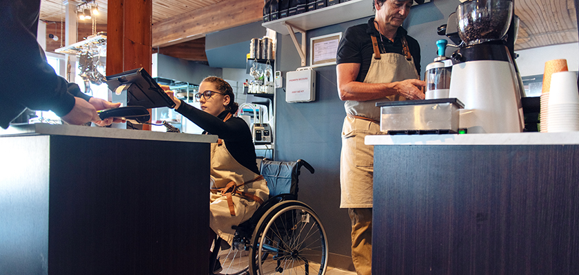 Young worker with disability