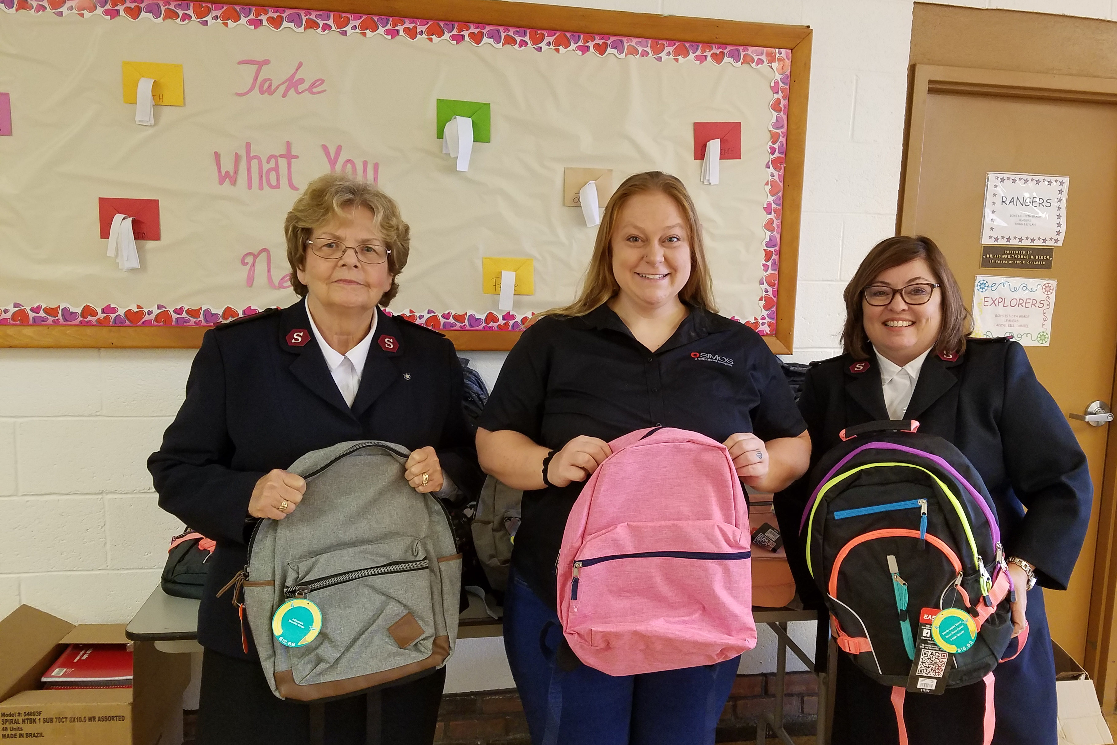 Kyla Miller joined forces with the Salvation Army in Wheeling to put together two dozen backpacks filled with spiral notebooks, folders, pencil bags, calculators, index cards, crayons, markers, glue and erasers. And it all started with a chance meeting in Target.