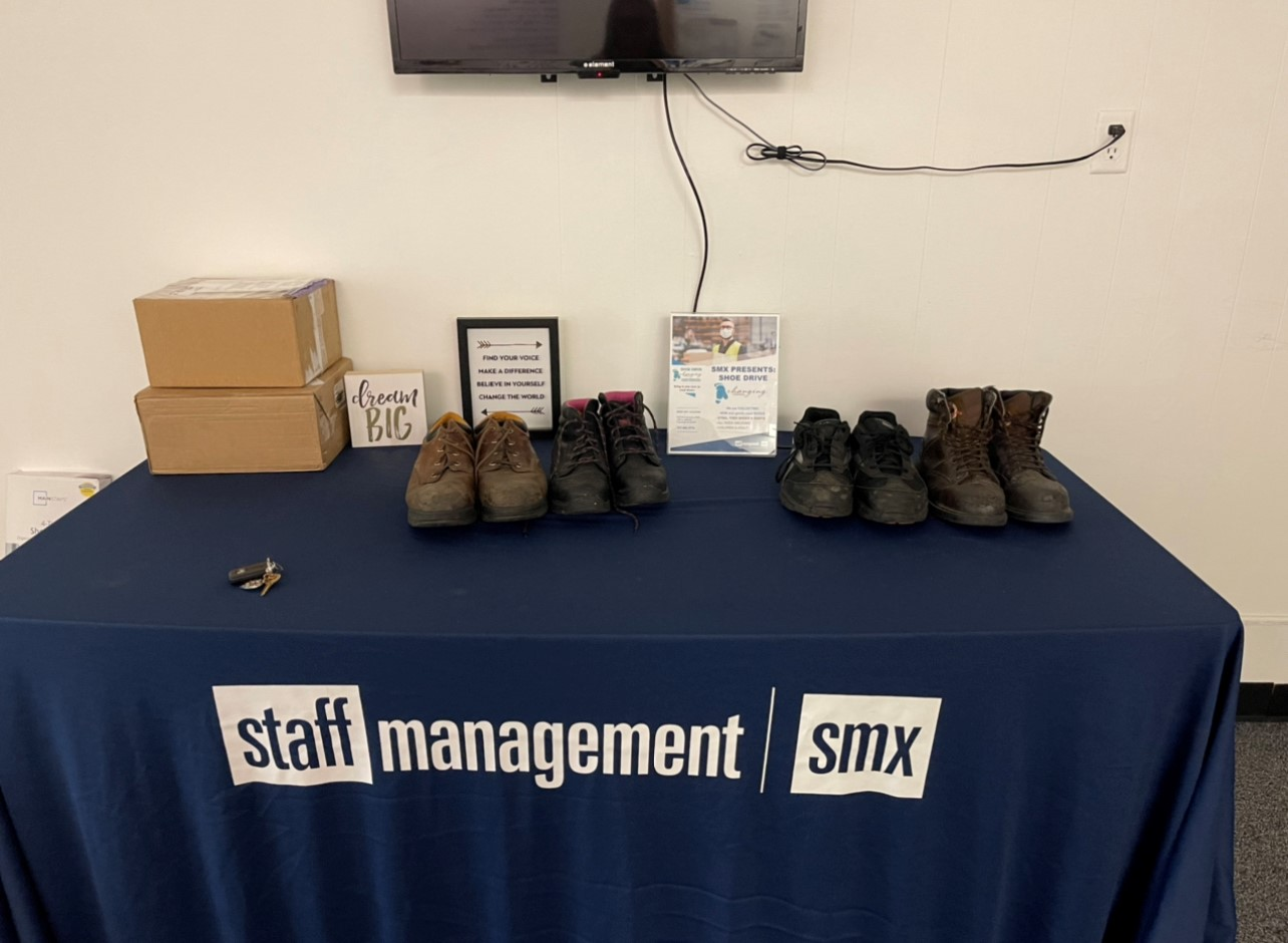 Steel-toed boots from Changing Footprints help Staff Management | SMX associates get to work