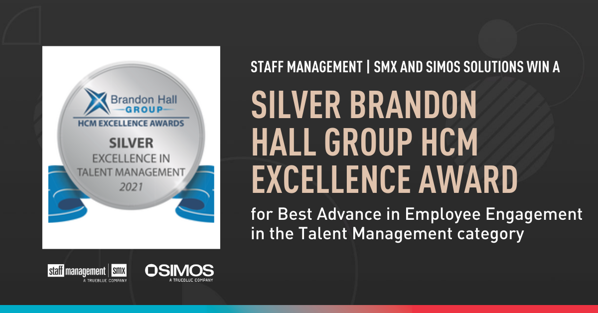 Staff Management   SMX and SIMOS Solutions win silver Brandon Hall Group HCM Excellence Award