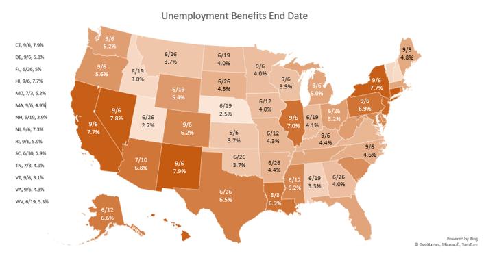 A map of unemployment benefit end dates