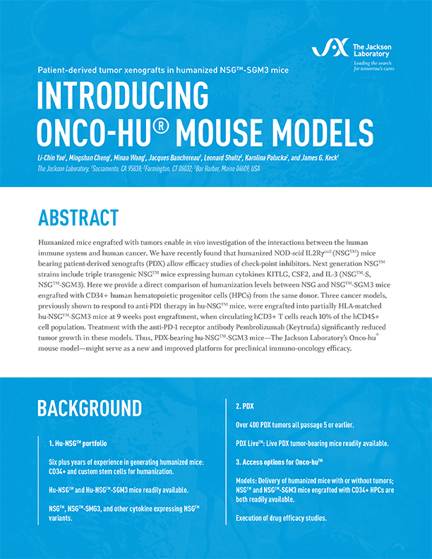 Introducing Onco-Hu Mouse Models