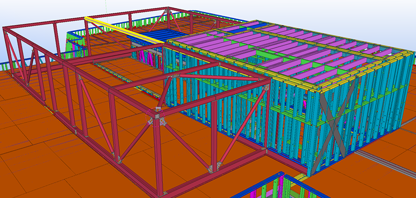 Tekla Structures 3D BIM model showing light steel frame making two rectangle rooms on roof of building