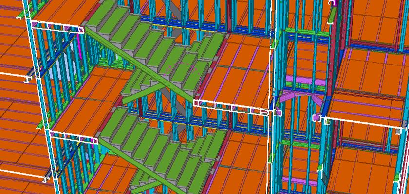 Slice through Tekla Structures model showing internal stairwell return between floors