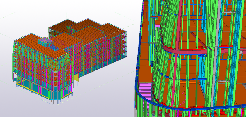 Full Tekla Structures model of Vita Student Westgate and close-up of curved wall detail