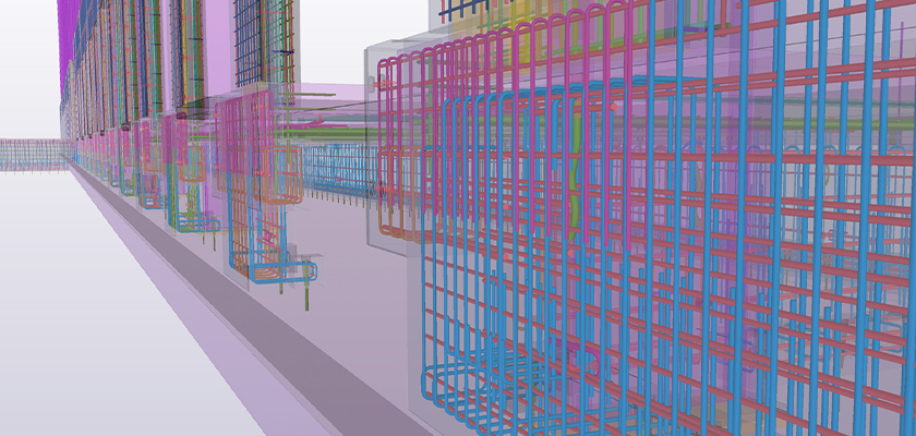 Tekla Structures precast model showing rebar elements
