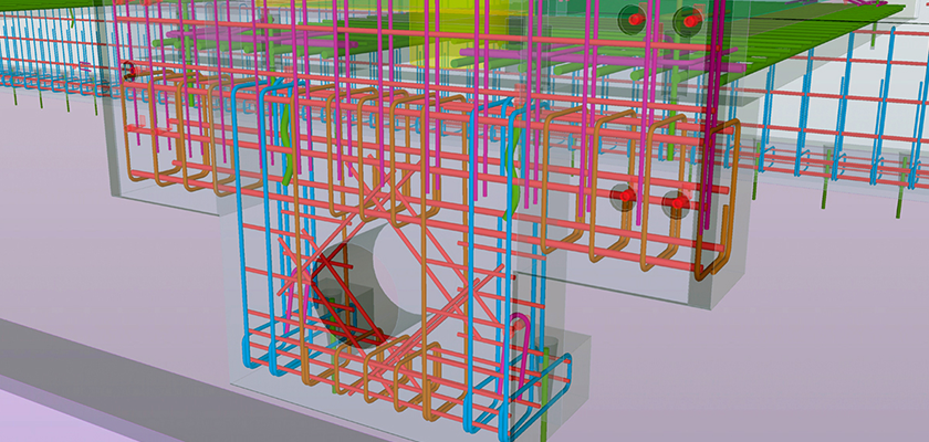 Tekla Structures model showing rebar