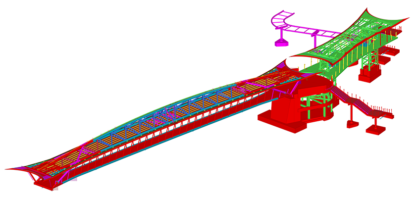 Full 3D BIM model of Telford Footbridge project; shows bridge, canopy and stairs
