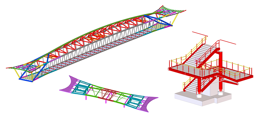 Three individual Tekla Structures models, the footbridge, canopy and stairs