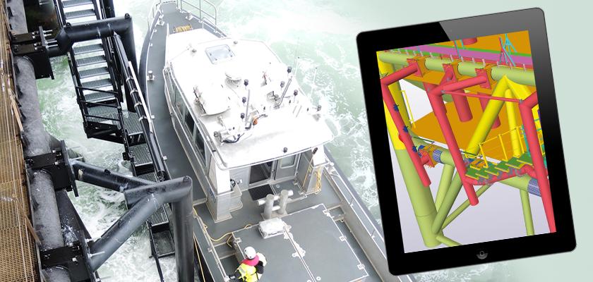 Photo and Tekla Structures model of boat landing station