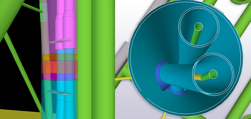 Model of pipe joint and two internal curved and twisted pipes