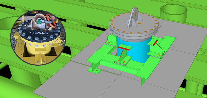 Tekla Structures model of trunnion with photo superimposed