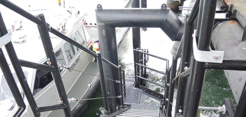 Boat landing station upon installation