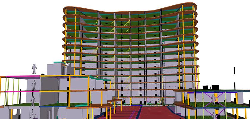 Front view looking up at 3D BIM precast maodel