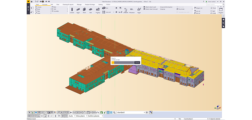 Tekla Structures screenshot showing three wings of precast modelled in T-shape