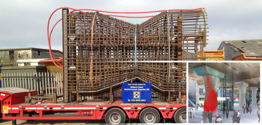 Rebar for column on back of lorry and artist impression of column with Tekla model superimposed