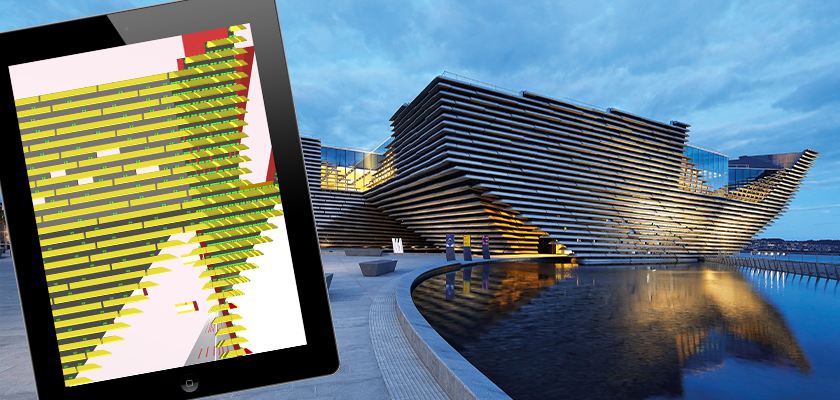Tablet showing 3D model of V&A Dundee with museum in background at dusk
